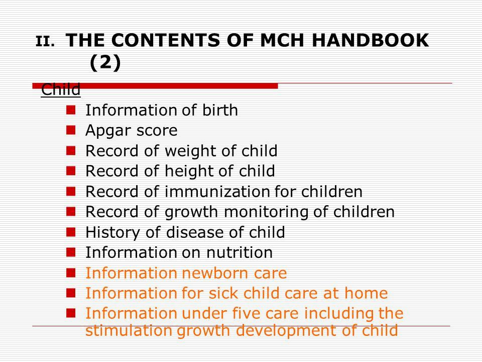 II. THE CONTENTS OF MCH HANDBOOK (2)