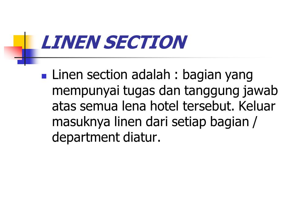 LINEN SECTION