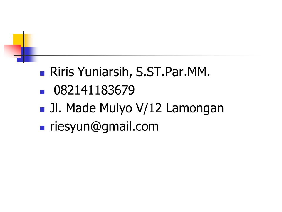 Riris Yuniarsih, S.ST.Par.MM.