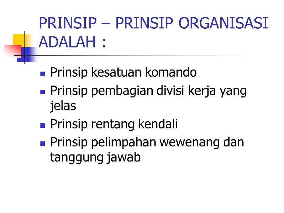 PRINSIP – PRINSIP ORGANISASI ADALAH :