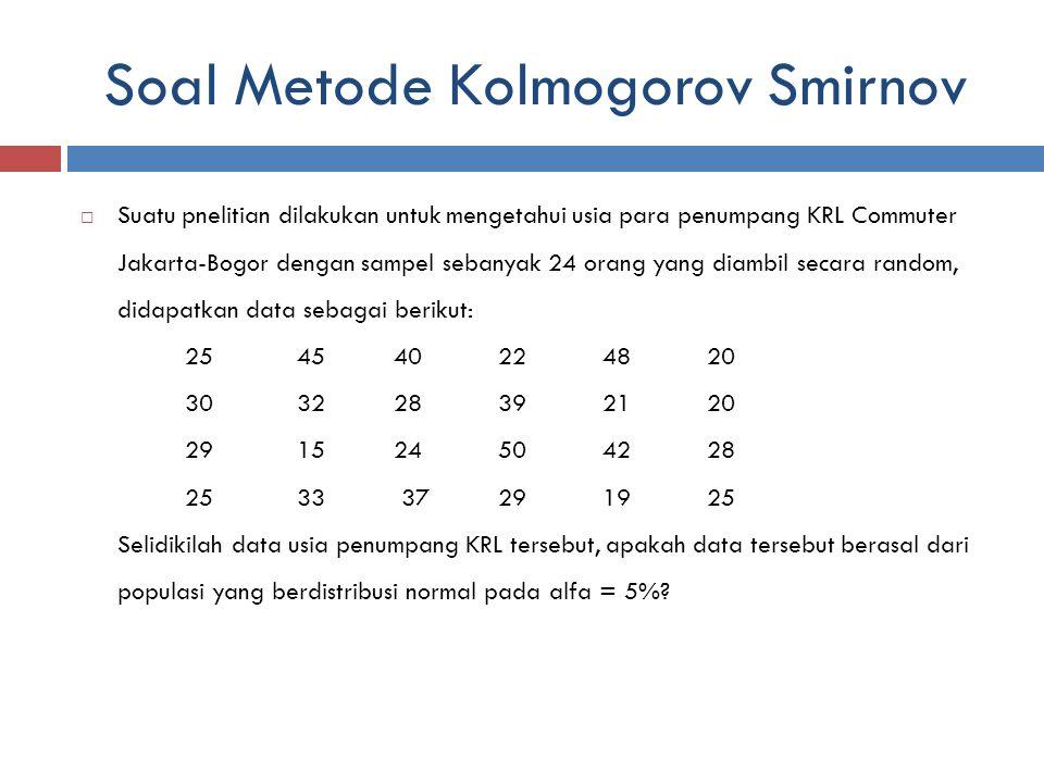 Soal Metode Kolmogorov Smirnov