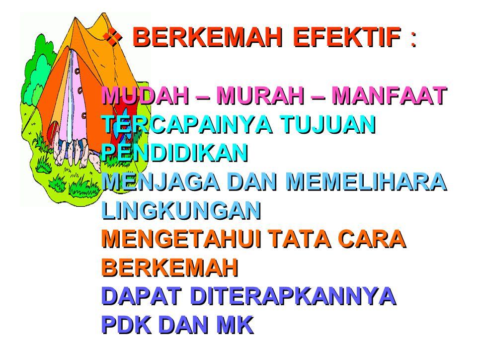 BERKEMAH EFEKTIF : MUDAH – MURAH – MANFAAT TERCAPAINYA TUJUAN PENDIDIKAN MENJAGA DAN MEMELIHARA LINGKUNGAN MENGETAHUI TATA CARA BERKEMAH DAPAT DITERAPKANNYA PDK DAN MK