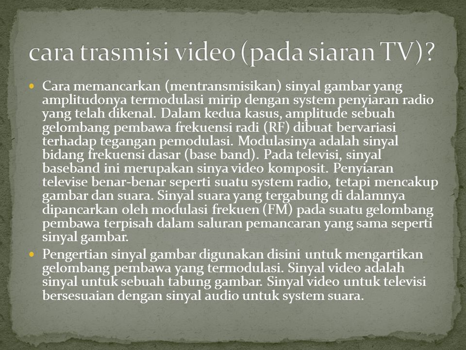 cara trasmisi video (pada siaran TV)