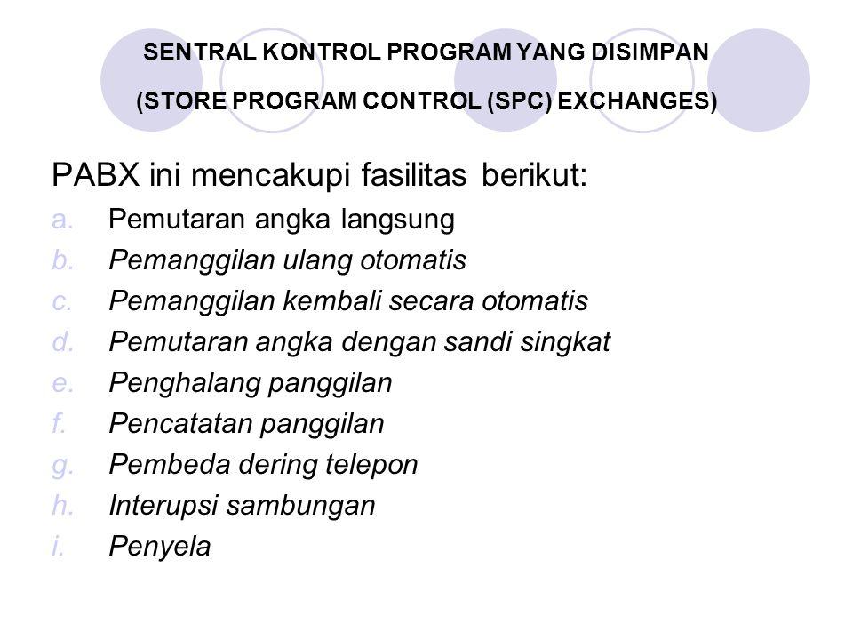 PABX ini mencakupi fasilitas berikut: