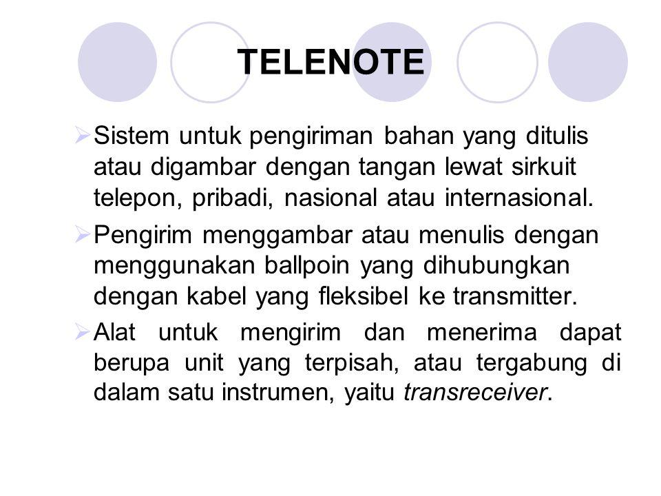 TELENOTE Sistem untuk pengiriman bahan yang ditulis atau digambar dengan tangan lewat sirkuit telepon, pribadi, nasional atau internasional.
