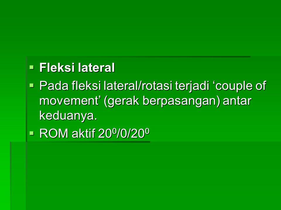Fleksi lateral Pada fleksi lateral/rotasi terjadi 'couple of movement' (gerak berpasangan) antar keduanya.