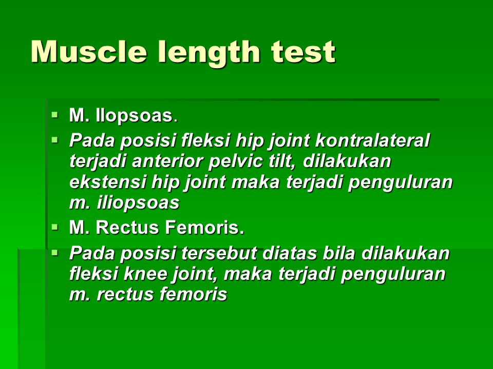 Muscle length test M. Ilopsoas.