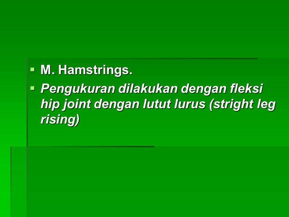 M. Hamstrings. Pengukuran dilakukan dengan fleksi hip joint dengan lutut lurus (stright leg rising)