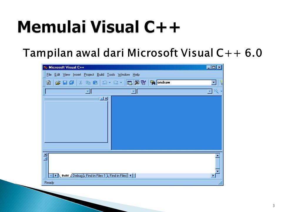 Tampilan awal dari Microsoft Visual C++ 6.0