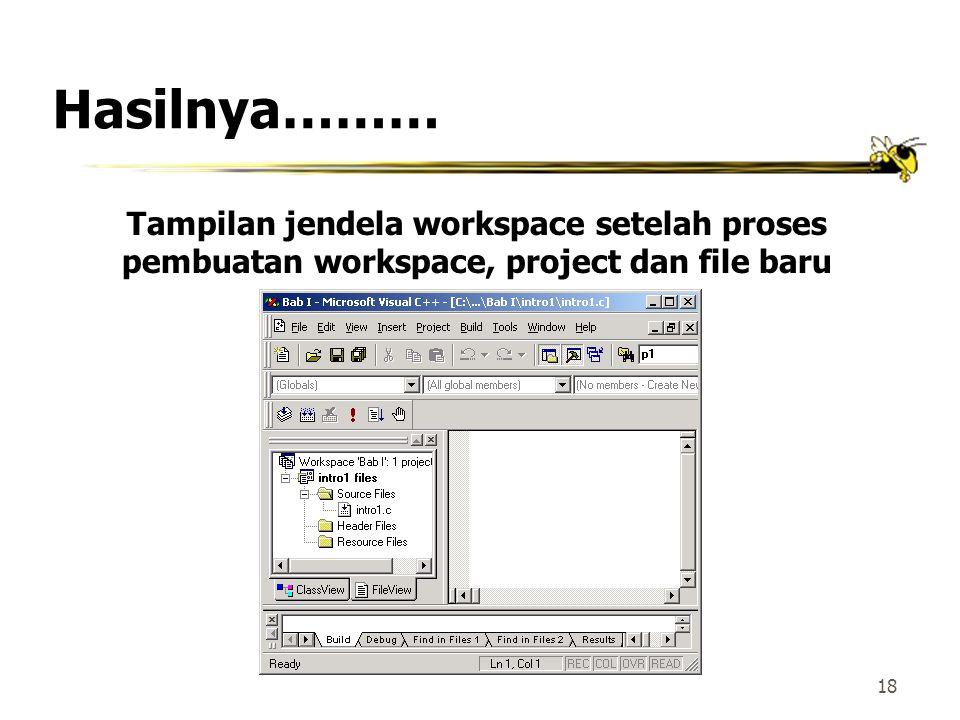 Hasilnya……… Tampilan jendela workspace setelah proses pembuatan workspace, project dan file baru