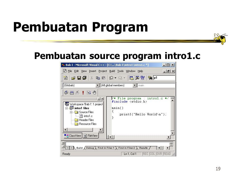 Pembuatan source program intro1.c