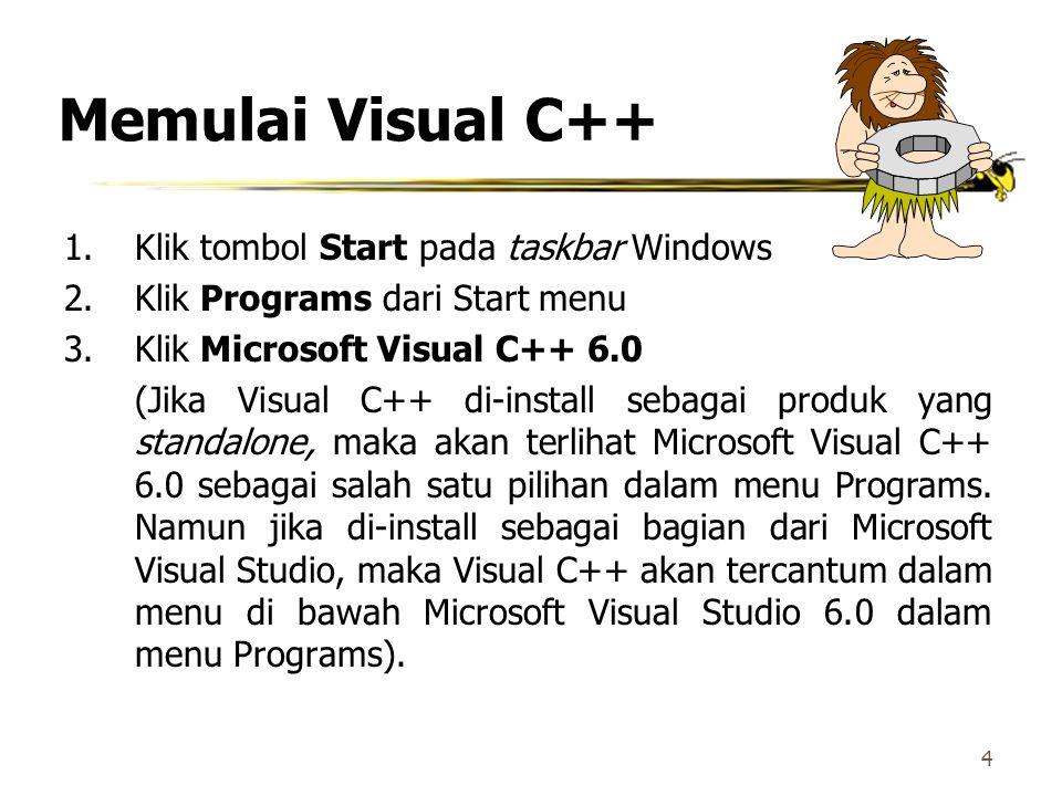 Memulai Visual C++ Klik tombol Start pada taskbar Windows