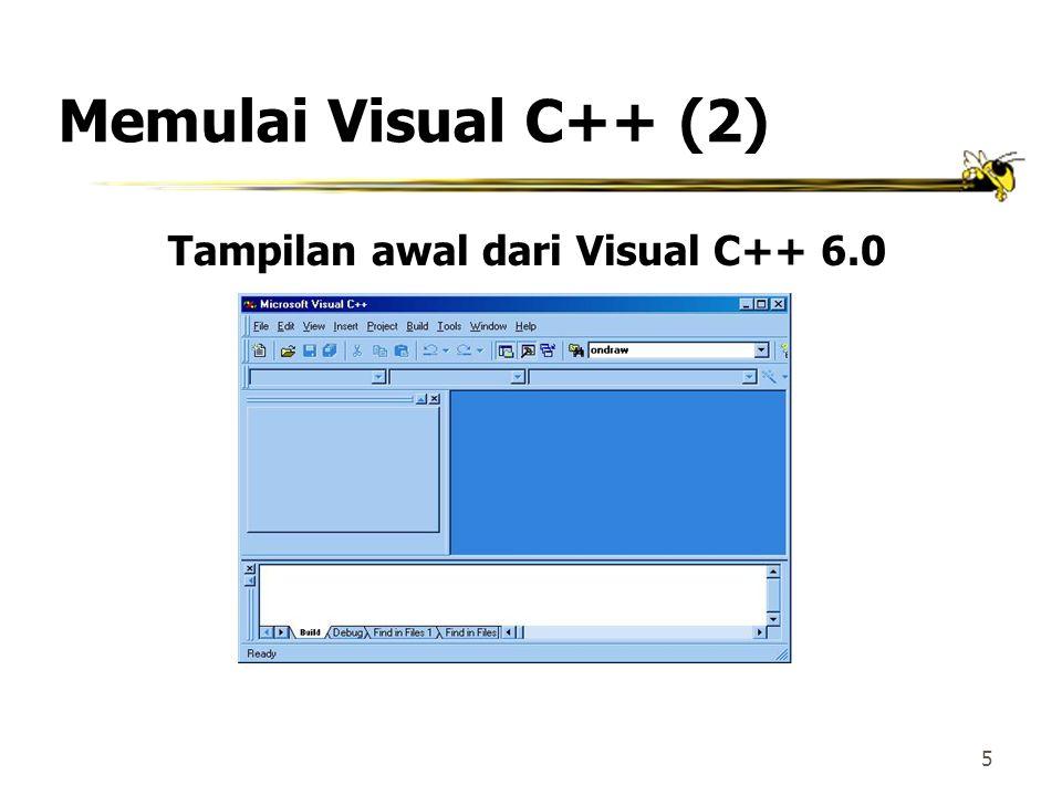 Tampilan awal dari Visual C++ 6.0