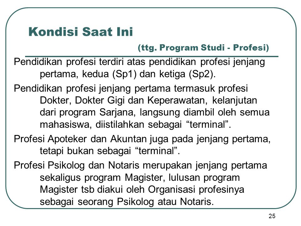 Kondisi Saat Ini (ttg. Program Studi - Profesi)