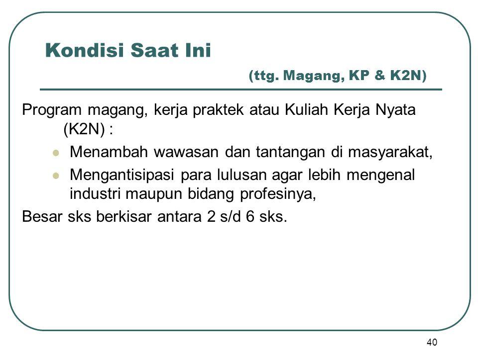Kondisi Saat Ini (ttg. Magang, KP & K2N)