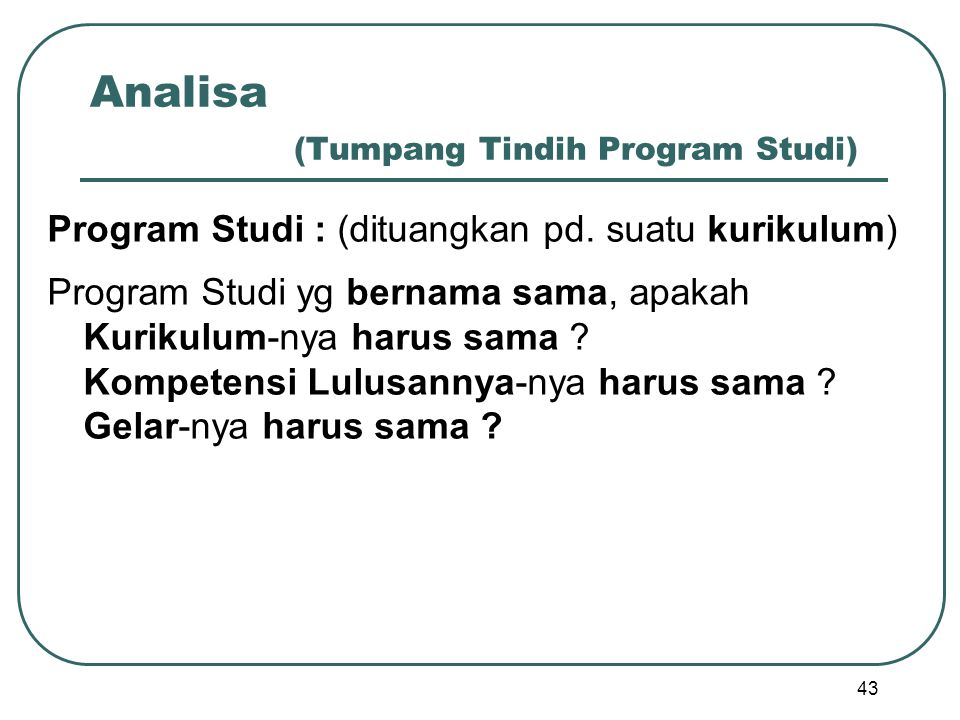 Analisa (Tumpang Tindih Program Studi)