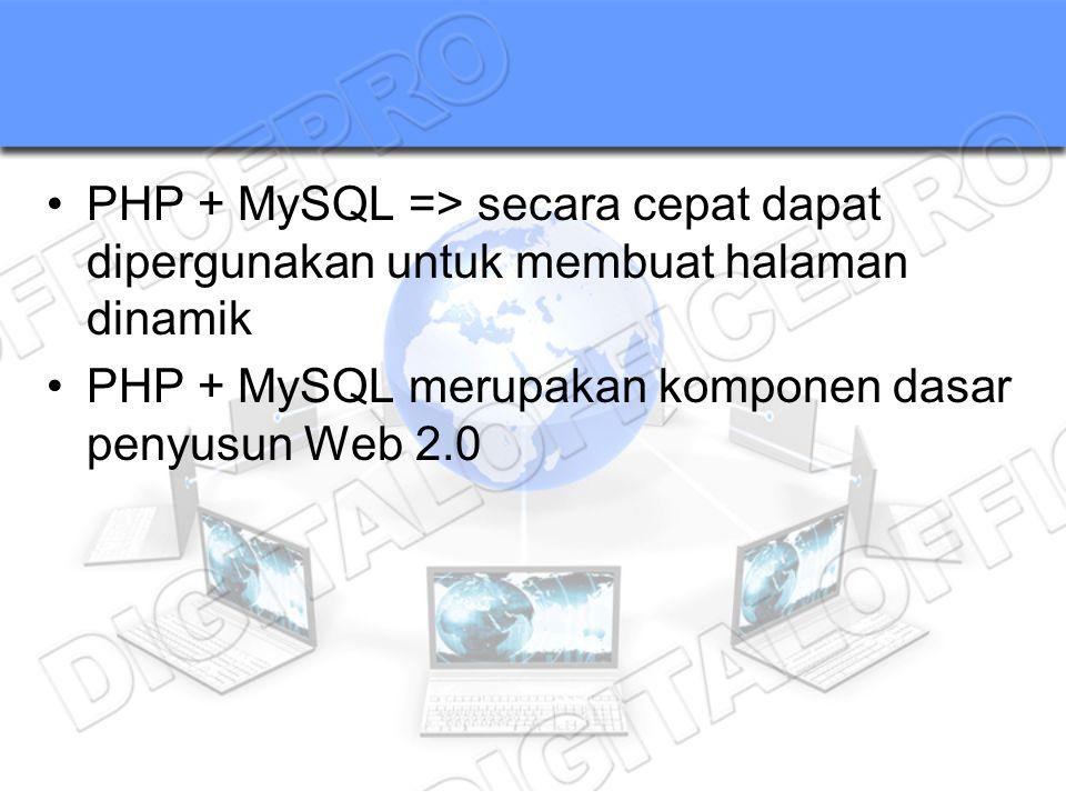 PHP + MySQL => secara cepat dapat dipergunakan untuk membuat halaman dinamik