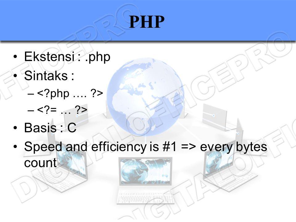 PHP Ekstensi : .php Sintaks : Basis : C