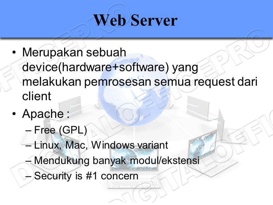 Web Server Merupakan sebuah device(hardware+software) yang melakukan pemrosesan semua request dari client.