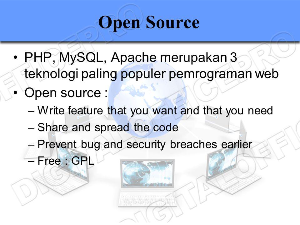 Open Source PHP, MySQL, Apache merupakan 3 teknologi paling populer pemrograman web. Open source :