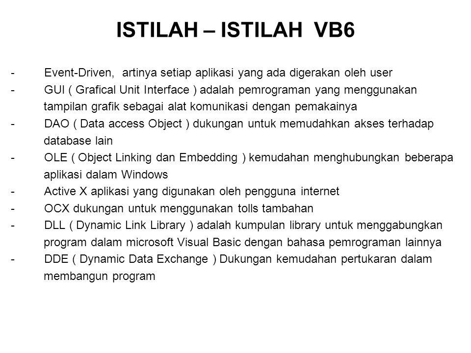 ISTILAH – ISTILAH VB6 - Event-Driven, artinya setiap aplikasi yang ada digerakan oleh user.