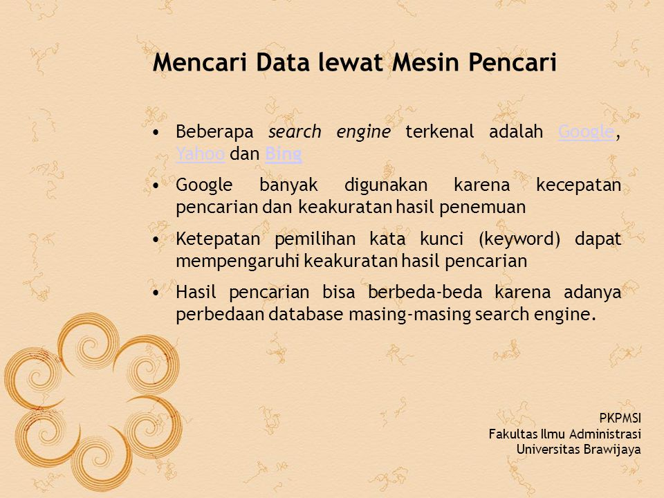 Mencari Data lewat Mesin Pencari