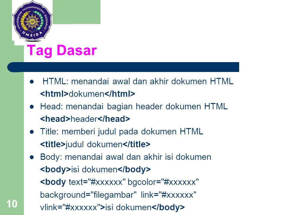 Tag Dasar HTML: menandai awal dan akhir dokumen HTML