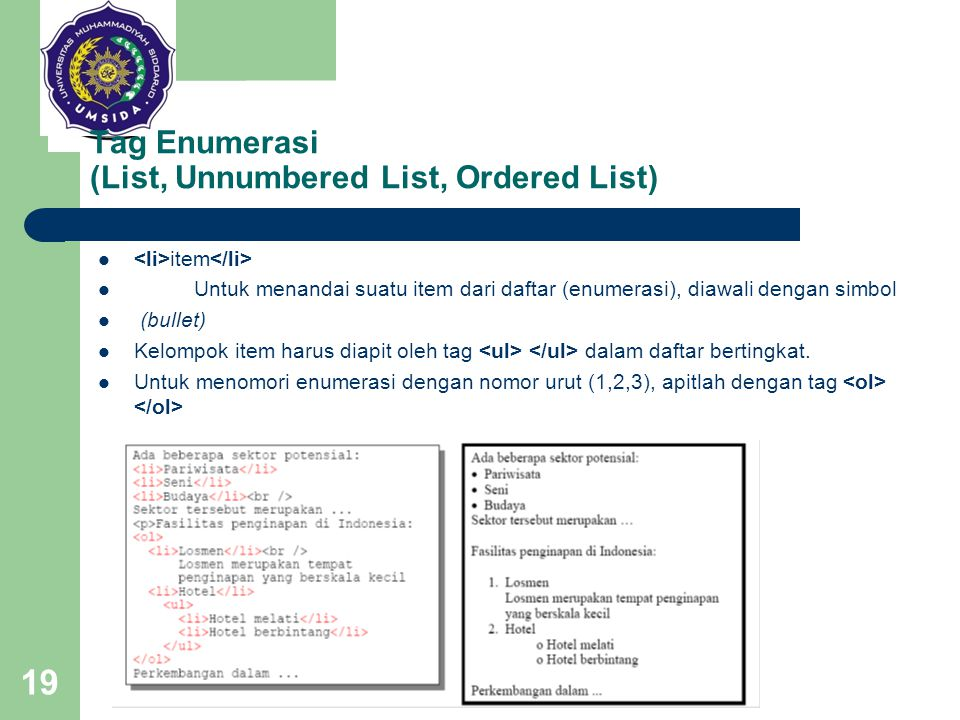 Tag Enumerasi (List, Unnumbered List, Ordered List)