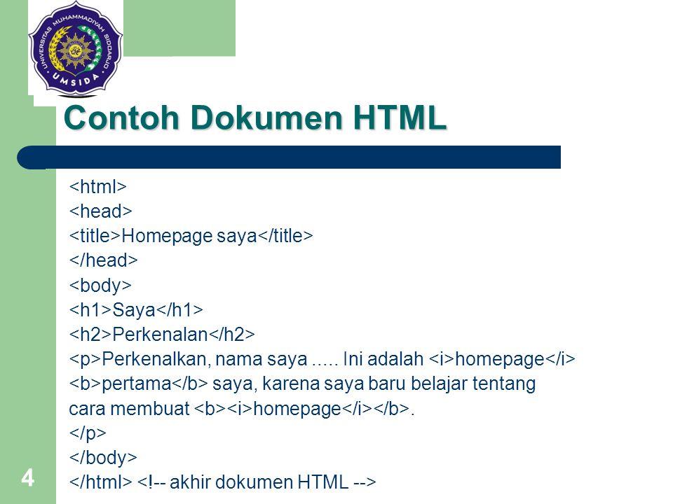 Contoh Dokumen HTML <html> <head>