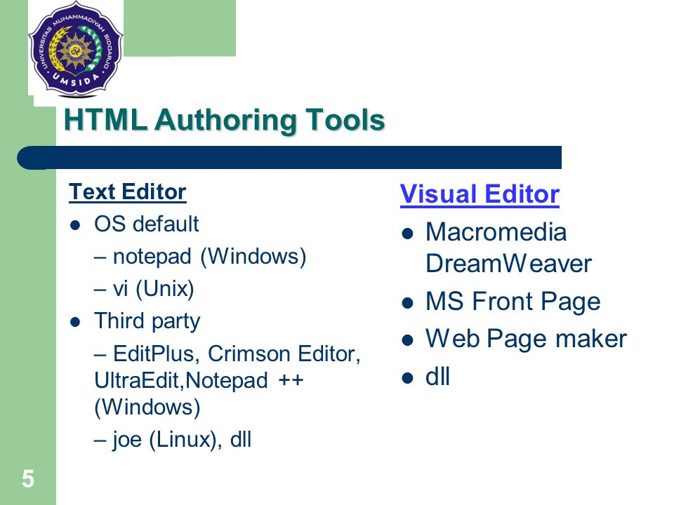 HTML Authoring Tools Visual Editor Macromedia DreamWeaver