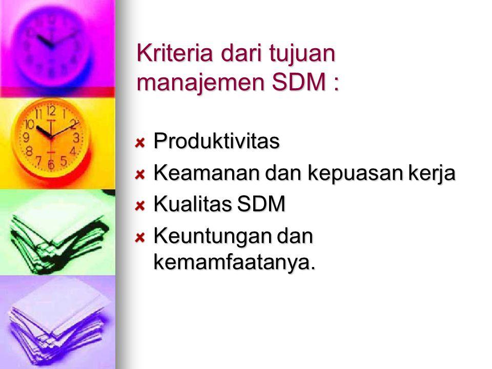 Kriteria dari tujuan manajemen SDM :