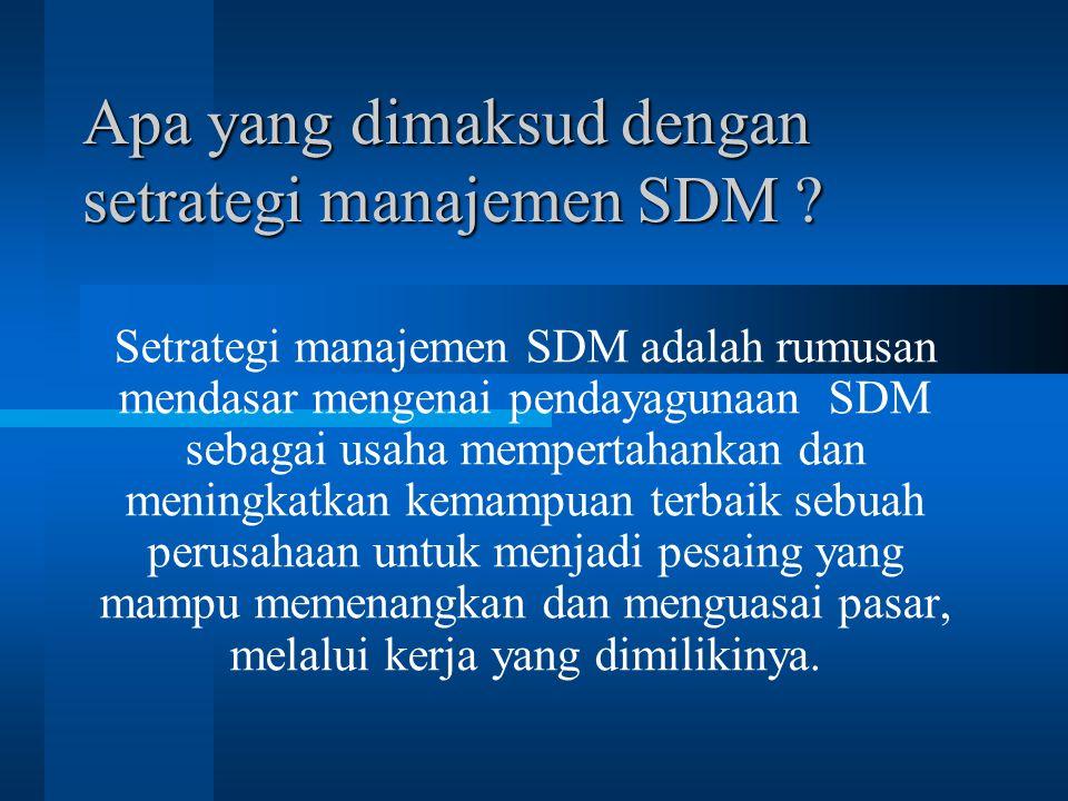 Apa yang dimaksud dengan setrategi manajemen SDM