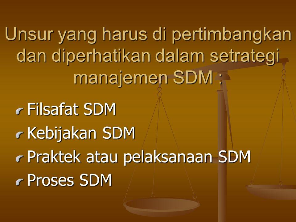 Unsur yang harus di pertimbangkan dan diperhatikan dalam setrategi manajemen SDM :