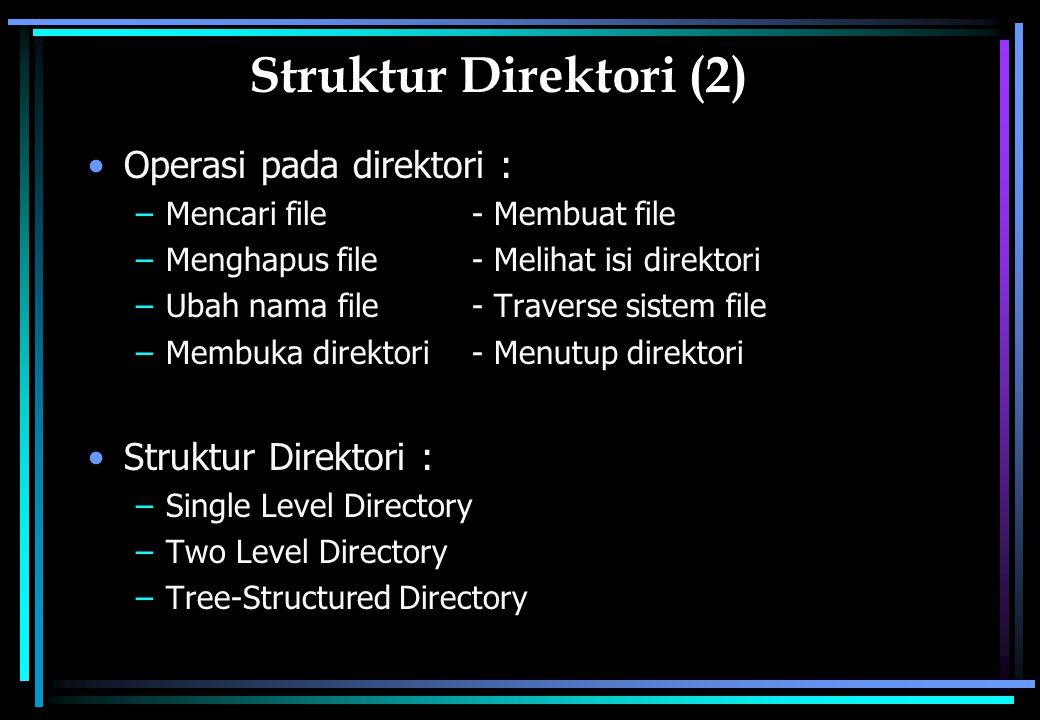 Struktur Direktori (2) Operasi pada direktori : Struktur Direktori :