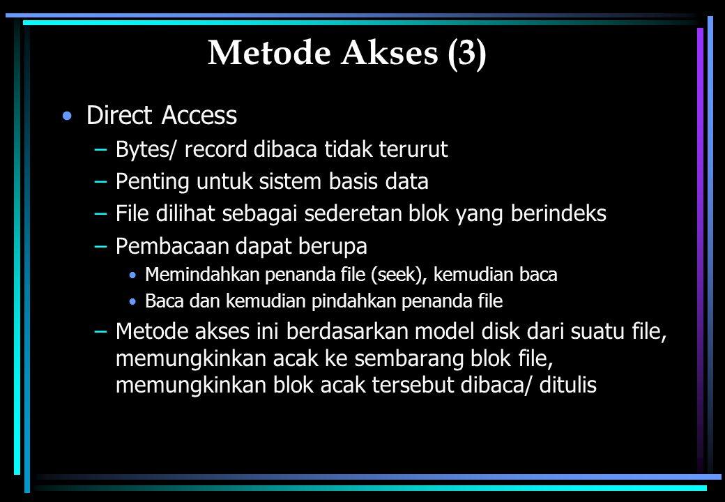 Metode Akses (3) Direct Access Bytes/ record dibaca tidak terurut