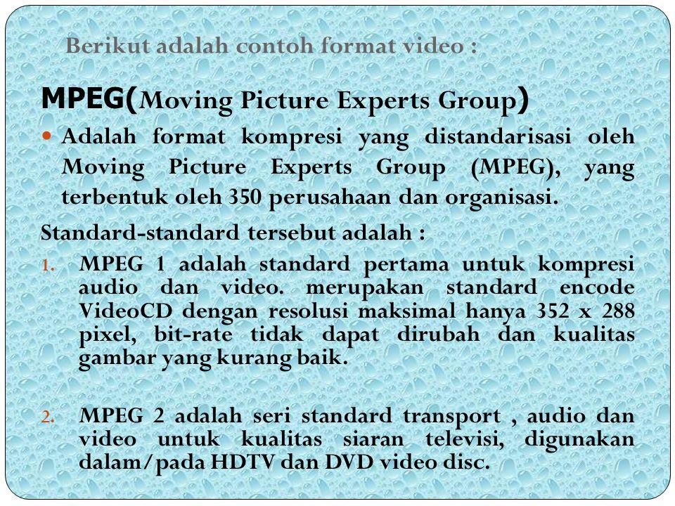 Berikut adalah contoh format video :