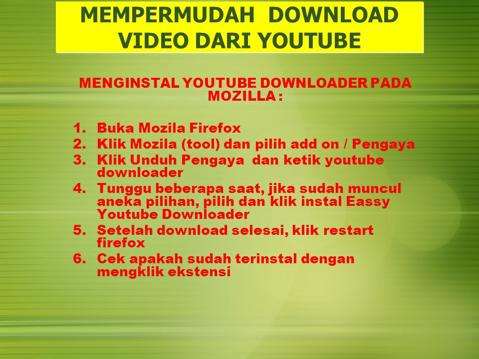 MEMPERMUDAH DOWNLOAD VIDEO DARI YOUTUBE