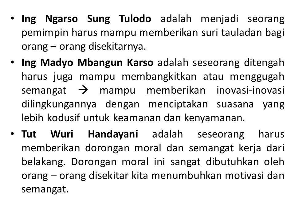 Ing Ngarso Sung Tulodo adalah menjadi seorang pemimpin harus mampu memberikan suri tauladan bagi orang – orang disekitarnya.