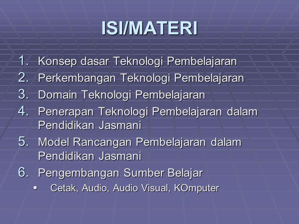 ISI/MATERI Konsep dasar Teknologi Pembelajaran