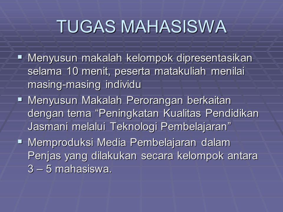 TUGAS MAHASISWA Menyusun makalah kelompok dipresentasikan selama 10 menit, peserta matakuliah menilai masing-masing individu.