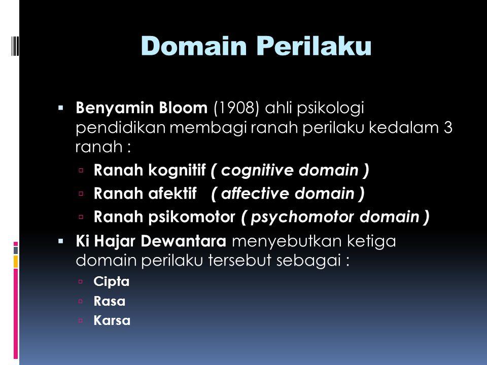 Domain Perilaku Benyamin Bloom (1908) ahli psikologi pendidikan membagi ranah perilaku kedalam 3 ranah :