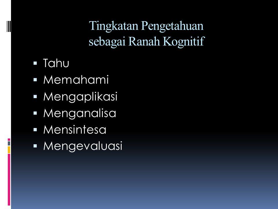 Tingkatan Pengetahuan sebagai Ranah Kognitif