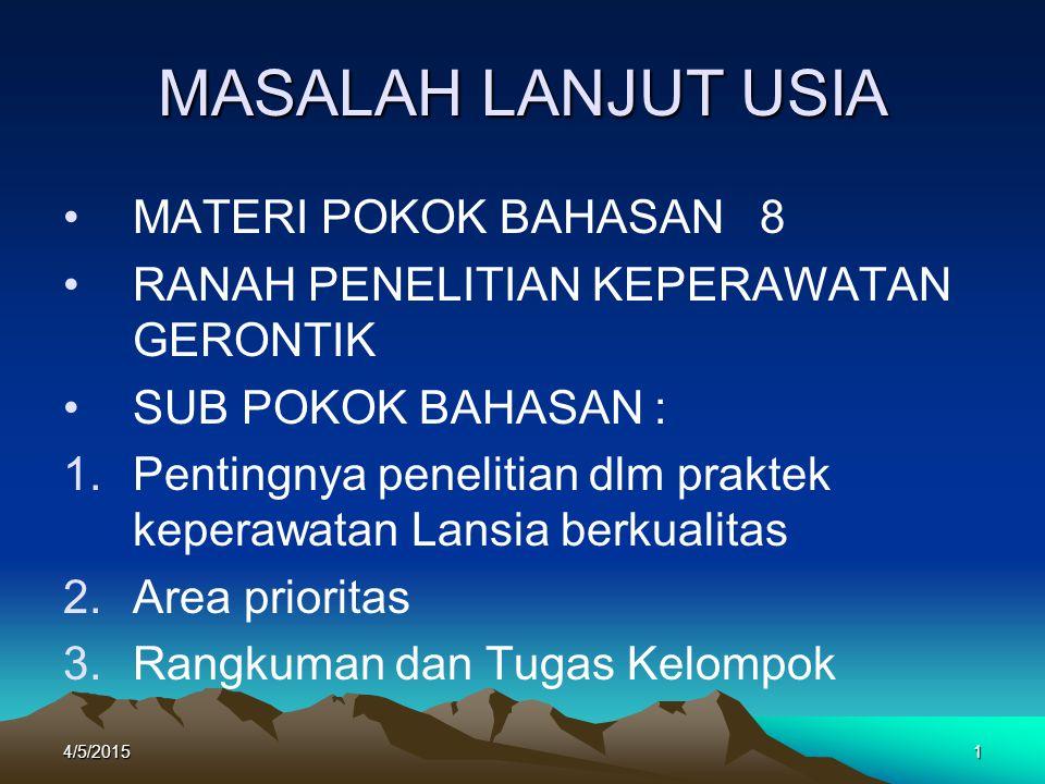 MASALAH LANJUT USIA MATERI POKOK BAHASAN 8