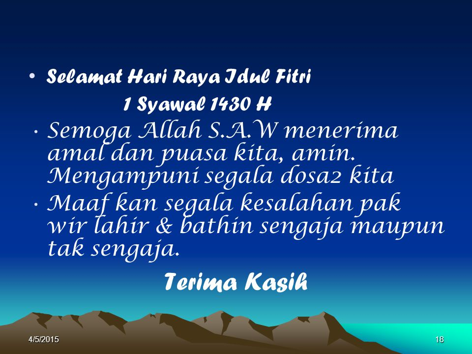 Terima Kasih Selamat Hari Raya Idul Fitri 1 Syawal 1430 H