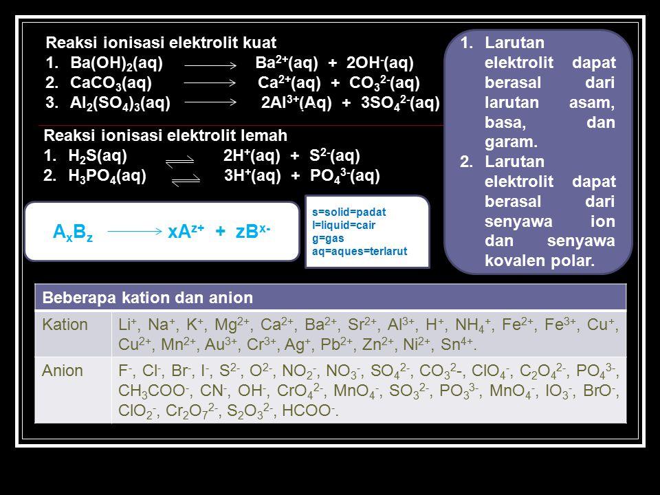 AxBz xAz+ + zBx- Reaksi ionisasi elektrolit kuat