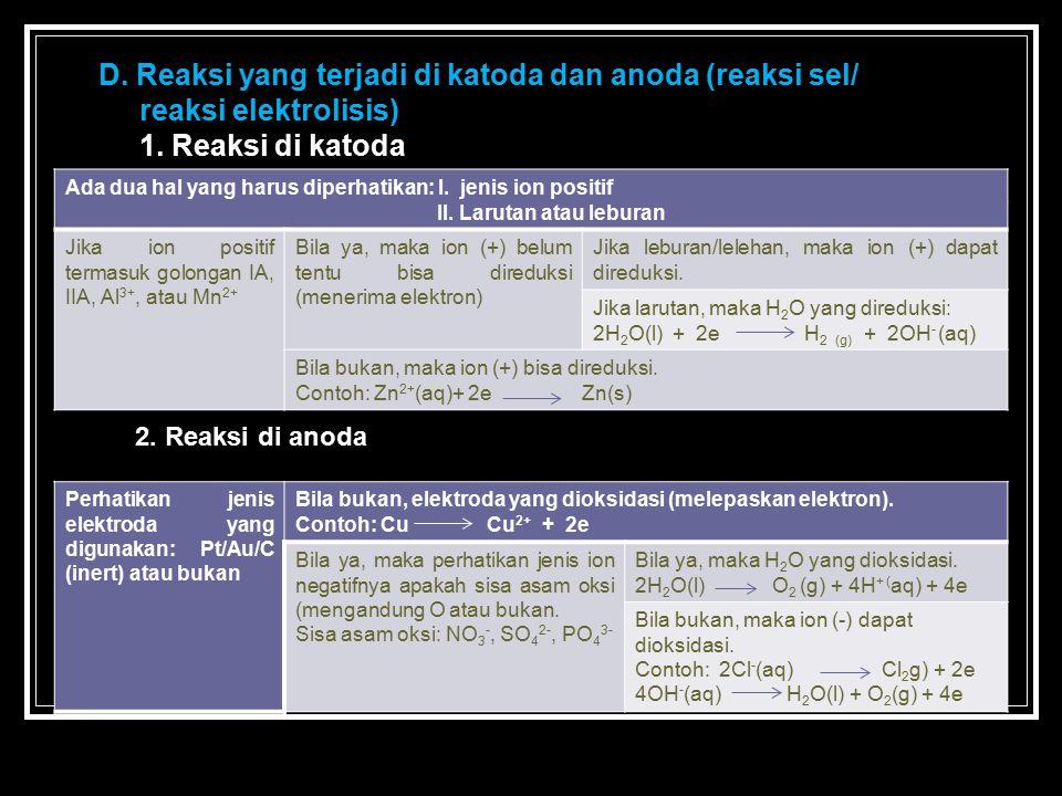 D. Reaksi yang terjadi di katoda dan anoda (reaksi sel/