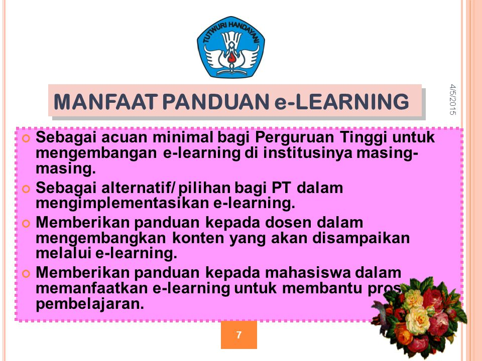 MANFAAT PANDUAN e-LEARNING