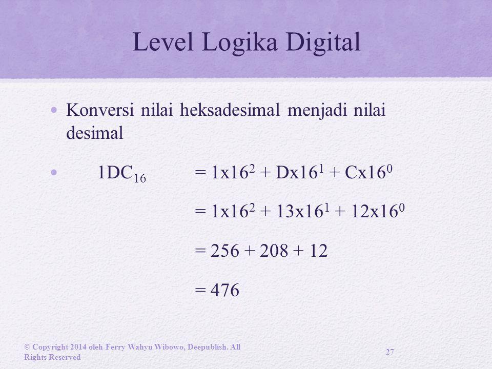 Level Logika Digital Konversi nilai heksadesimal menjadi nilai desimal