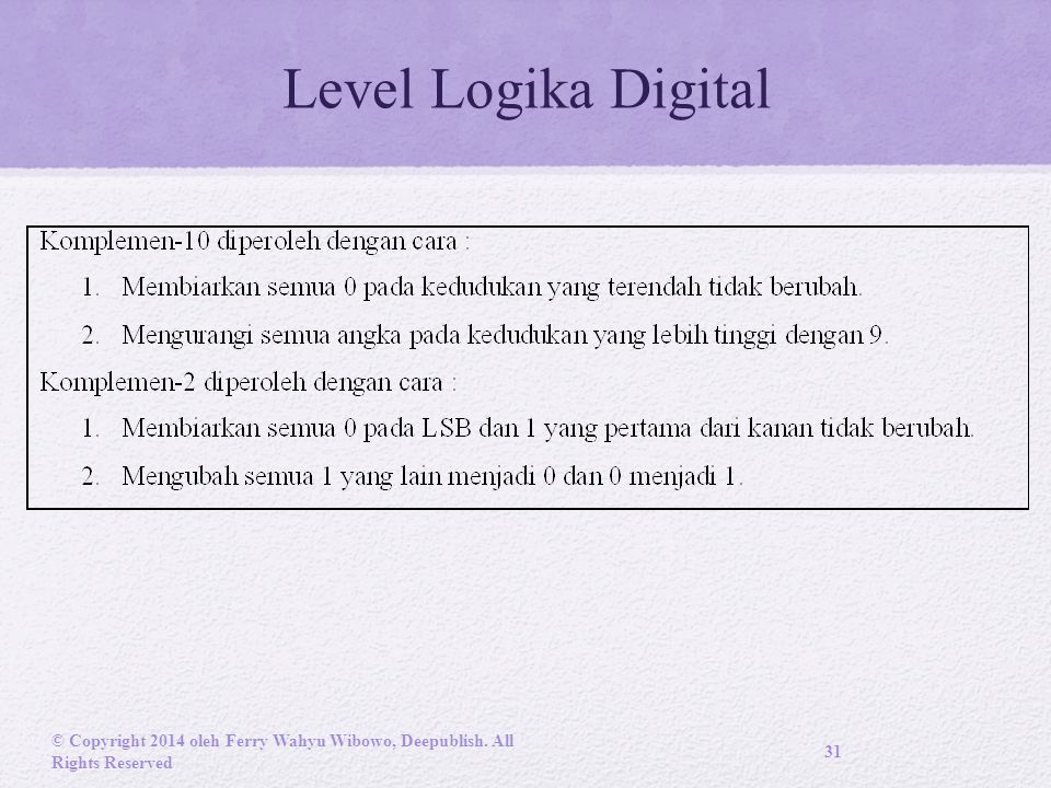 Level Logika Digital © Copyright 2014 oleh Ferry Wahyu Wibowo, Deepublish. All Rights Reserved