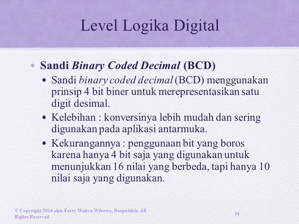 Level Logika Digital Sandi Binary Coded Decimal (BCD)